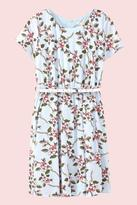 Yumi Girls Floral Vine Print Belted Dress Blue