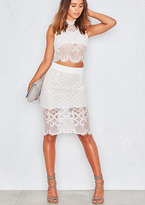 Missy Empire Celie White All Over Lace Crop Top & Skirt Co-Ord