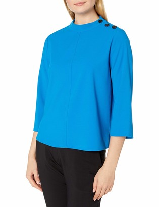 Vince Camuto Women's Elbow Sleeve Mock Neck Textured Blouse