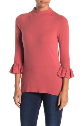 Kinross Funnel Neck Pleat Sleeve Zip Cashmere Sweater