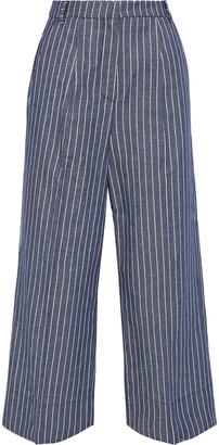 Iris & Ink Claret Cropped Pinstriped Twill Wide-leg Pants