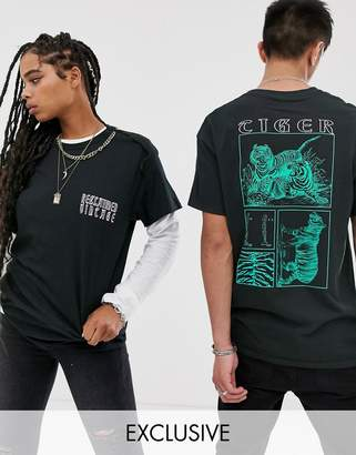 Reclaimed Vintage Unisex natural history museum tiger t-shirt-Black