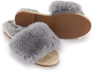 Pretty You London Faux Fur Sandal In Grey