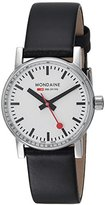 Mondaine Women's 'SBB' Swiss Quartz Stainless Steel and Leather Casual Watch, Color:Black (Model: MSE.30110.LB)