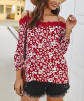 Gaovot Women's Blouses wine - Wine Red Floral Lace-Trim Off-Shoulder Top - Women