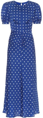 Self-Portrait Polka-dot satin midi dress