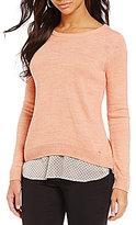 Ivanka Trump Dot Printed Chiffon Shirttail Hem Sweater