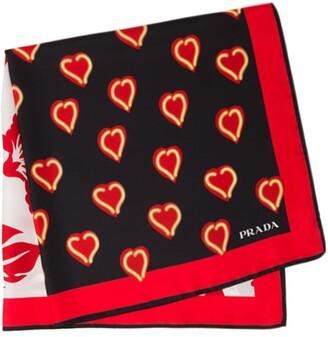 Prada heart print scarf