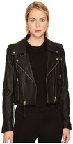 The Kooples Leather Jacket with Stud Details and Leather Laces Women's Coat