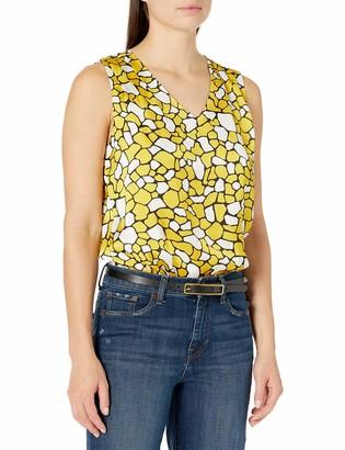 Kasper Women's Sleeveless V-Neck GEO Giraffe Print Blouse