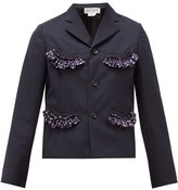Comme des Garcons Single-breasted Ruffle-trim Crepe Jacket - Womens - Navy