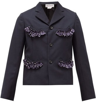 COMME DES GARÇONS GIRL Single-breasted Ruffle-trim Crepe Jacket - Navy