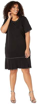 MICHAEL Michael Kors Size Stud Short Sleeve Ruffle Dress (Black) Women's Clothing