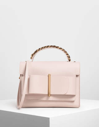 Charles & Keith Bow Buckle Chain Top Handle Bag