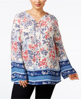 Style&Co. Style & Co. Plus Size Scarf-Print Peasant Top, Only at Macy's