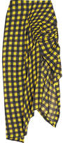 Preen by Thornton Bregazzi Cecily Checked Hammered-silk Skirt - Bright yellow