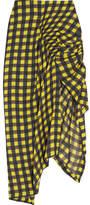 Preen by Thornton Bregazzi Cecily Checked Hammered-silk Skirt