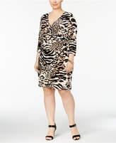 INC International Concepts I.N.C. Plus Size Animal-Print Wrap Dress, Created for Macy's