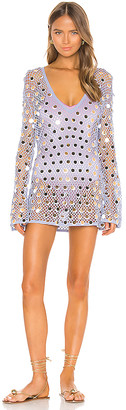 Caroline Constas Long Sleeve Crochet Cover Up