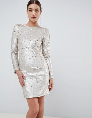 Club L London Two Tone Sequins Low Back Bodycon Mini Dress-Gold