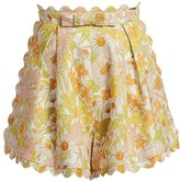 Zimmermann Super 8 Floral Scalloped Linen Shorts