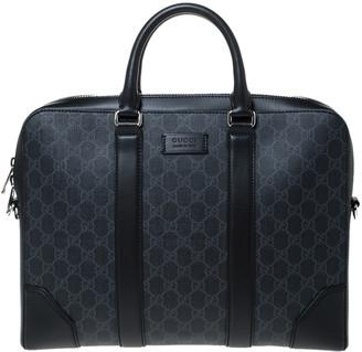 Gucci Black/Grey GG Supreme Canvas and Leather Briefcase