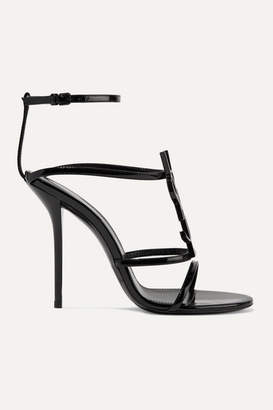 Saint Laurent Cassandra Logo-embellished Patent-leather Sandals - Black