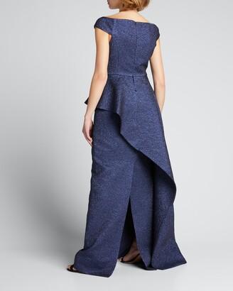 Rickie Freeman For Teri Jon Metallic Jacquard Cap-Sleeve Asymmetric Peplum Gown