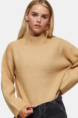 Topshop Womens Petite Camel Cropped Funnel Neck Knitted Jumper - Camel