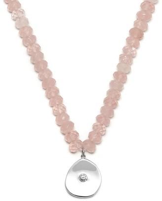 Large Coin Charm Necklace Rose Quartz