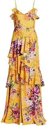 Marchesa Notte Ruffle Floral Crepe Gown