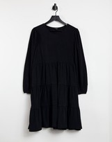 Thumbnail for your product : Monki Mino long sleeve tiered mini smock dressin black