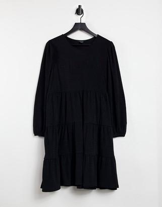 Monki Mino long sleeve tiered mini smock dressin black