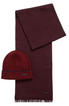 HUGO BOSS Hat And Scarf Set In Cashmere Touch Wool - Dark Red