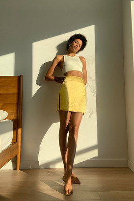 Motel Shenka Satin Notched Mini Skirt