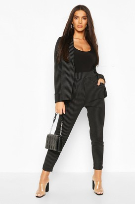 boohoo Pinstripe Tailored Blazer & Pants Co-Ord Suit