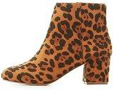 Charlotte Russe Leopard Low-Heel Ankle Bootie