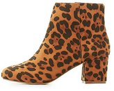 Charlotte Russe Leopard Low Heel Ankle Booties