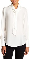 David Lerner Stand-Up Collar Neck Tie Blouse