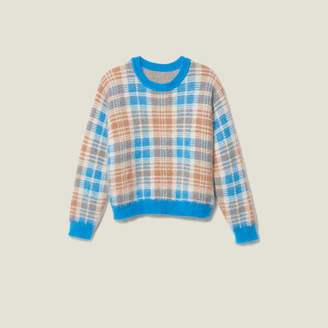 Sandro Hairy-effect checked jacquard sweater