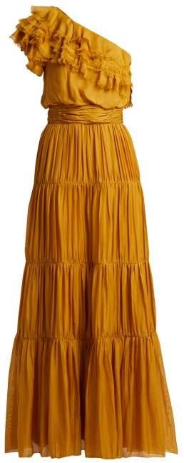 Johanna Ortiz Daydream Asymmetric Tiered Silk Muslin Gown - Womens - Yellow
