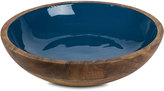 GG Collection G G Collection Enamel Mango Wood Bowl, Deep Blue