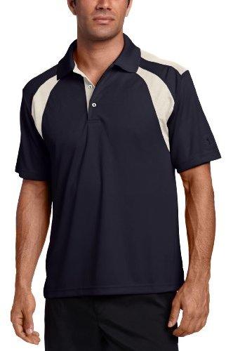 PGA TOUR Men's Short Sleeve Chest Shoulder Color Block Polo Shirt, True Navy, Medium