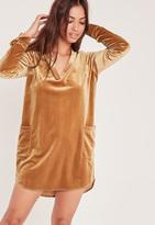 Missguided Oversized Velvet Pocket Shirt Dress Gold