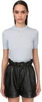 Miu Miu Crewneck Knit Top W/faux Pearl Collar