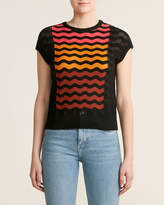 M Missoni Black Ombre Squiggle Cap Sleeve Wool Sweater