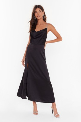 Nasty Gal Womens Cowl You Mine Diamante Maxi Dress - Black - 12
