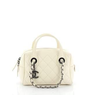 Chanel Bowling Bag White Leather Handbags