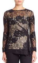 Josie Natori Ruched Lace Top