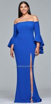Faviana Off the shoulder Bell Sleeve Jersey Plus Size Evening Dress